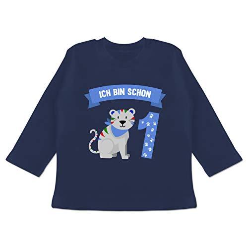 Baby Geburtstag Geburtstagsgeschenk - Ich Bin Schon 1 Tiger - 12/18 Monate - Navy Blau - Tiger Baby - BZ11 - Baby T-Shirt Langarm