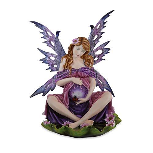 Les Alpes Orig. Fata Mamma Magica Incinta Seduta accarezzando, Collezione Fairy Land, Altezza 36 cm - Statuetta Figura Dipinta a Mano - 042 245