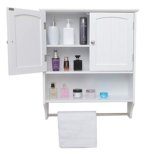 Iwell Wall Bathroom Cabinet with 1 Adjustable Shelf & Towels Bar, Over The Toilet Space Saver Storage Cabinet, Medicine Cabinet with 2 Doors, Cupboard White YSG005B