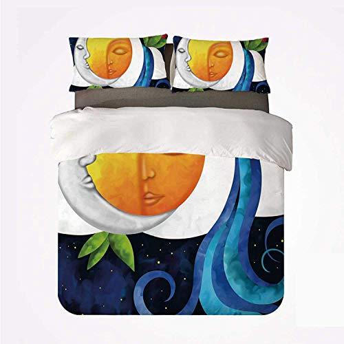 Juego de Funda nórdica Sol y Luna Cómodo Juego de 3 sábanas, Composición Abstracta de Cielo de ensue?o Universo Infinito Fantasía Lotus Waterfall Decorativo para Hotel