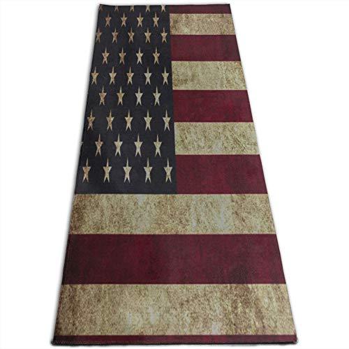 LOSUMIGE Esterilla Yoga Grunge American Flag Vintage Lámina artística Colchonetas de ejercicio Pilates para entrenamiento en casa Gimnasio Fitness Meditación Alfombra