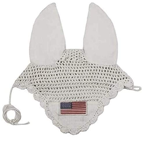 Derby Originals Paris Tack Patriotic Flag Crochet Ear Nets, White, Full