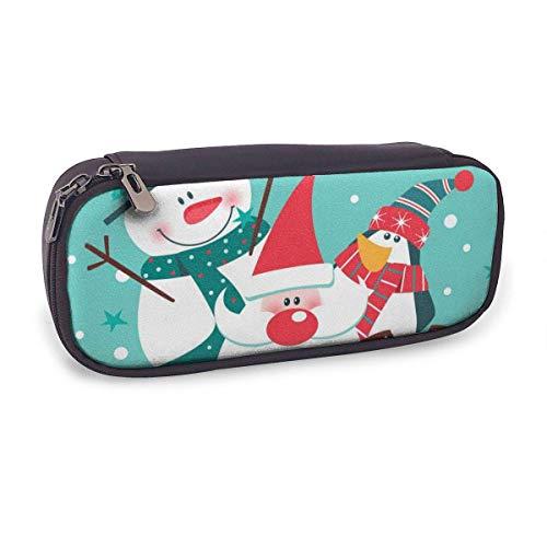 Estuche Escolar de Gran Capacidad,Feliz Navidad con Santa Claus Muñeco de Nieve Pingüino Y Perro,Bolsa de Lápiz Organizador para Material Papelería con Cremallera Doble