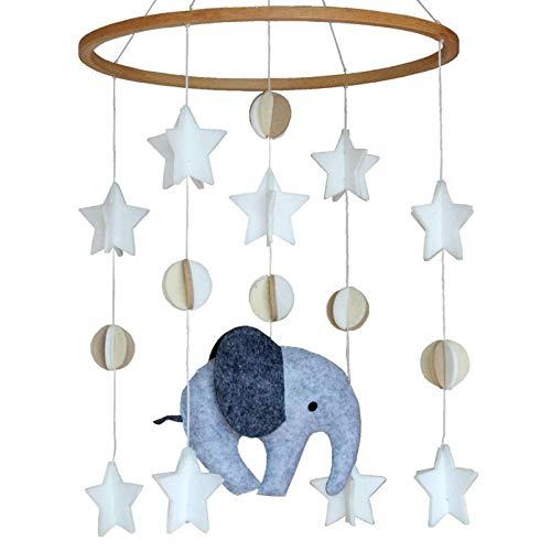 happygirr Carillón de viento móvil para cuna con cama de elefante, campana de cama, carillón de viento, fieltro, decoración de habitación infantil, regalo para niños y niñas