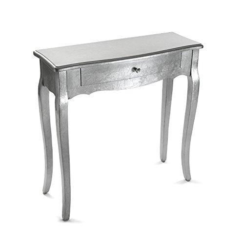 Versa Cagliari Mueble Recibidor Estrecho para la Entrada o el Pasillo, Mesa Consola, con 1 cajón, Medidas (Al x L x An) 80 x 30 x 80 cm, Madera, Color Plateado