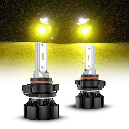 SEALIGHT 5202 LED Fog Light Bulbs, 3000K Yellow 4000 Lumens 11W High Power,5202 5201 PS19W PS24W LED Fog Light DRL Bulbs Replacement For Cars,Trucks(Pack of 2)