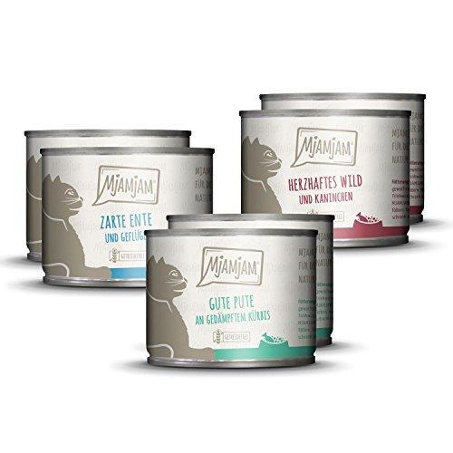 MjAMjAM - Comida húmeda para gatos, Sin grano con carne extra - Paquete de mezcla II - Wild y Conejo, Pavo, Pato y Aves, 1 Pack (6 x 200 g)