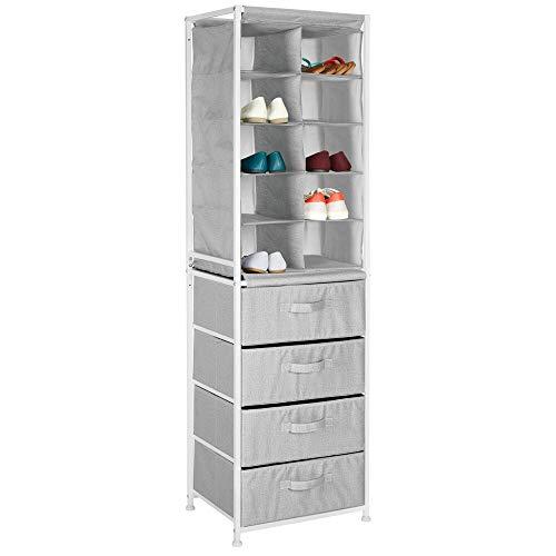 mDesign Mueble zapatero – Práctico organizador de zapatos con estructura de metal para la entrada o el trastero – Estantería guarda zapatos con 10 compartimentos y 4 cajones – gris
