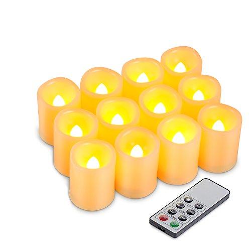 Kohree Juego de 12 Velas LED Sin Llama para Uso en Interiore y Exteriore con Mando a Distancia y Temporizador, Pilas Incluidas para Navidad,Restaurante,Bar,Semana Santa