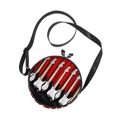 Ahomy Messenger Bags Guitarras eléctricas en la habitación, bolso redondo para niños,...