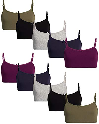 Rene Rofe Girls Cotton Spandex Cami Crop Training Bra with Adjustable Straps (10 Pack) (Asst #4, Medium/(7-8))