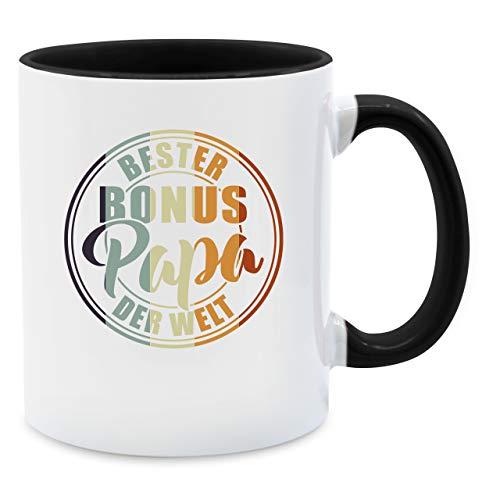 Vatertagsgeschenk Tasse - Bester bonus Papa der Welt - bunt - Unisize - Schwarz - Shirtracer - Q9061 - Kaffee-Tasse inkl. Geschenk-Verpackung