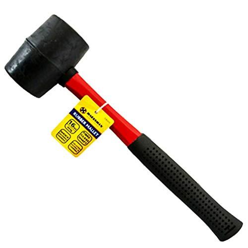 Marksman Hammer aus Gummi, Griff aus Fiberglas oder Silber, Griff mit Griff, für Camping, Pflaster, Regal, Verlegung von Fliesen, schwarz