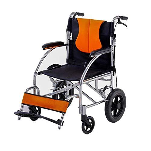 AOLI Aluminiumlegierung Rollstuhl, Leichtklapp Transport Stuhl, Ultralight Travel Rollstuhl, Startseite älterer Rollstuhl, Geeignet für Menschen mit Behinderungen, orange,Orange
