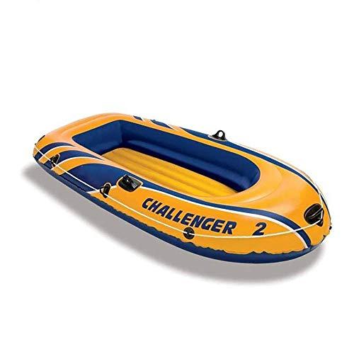 SHKUU Kayak Inflable 2 Personas 170 kg Capacidad Carga Barco Inflable Amarillo con Bomba Mano Barco Pesca 236x114x41cm Kayak