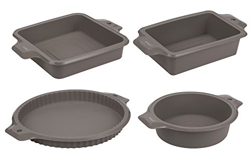 4-Piece Set Silicone Bakeware Molds - Nonstick Baking Supplies Set with Round, Square, and Rectangular Pans for Pies, Cake, Bread, Loaf, and More, Grey