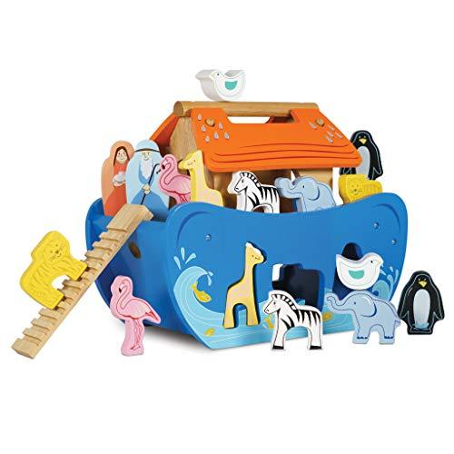 Le Toy Van - Arca de Noé de madera | Puzzle de animales clasificador de formas | Recomendado para niños y niñas - A partir de +24 meses