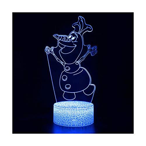 TIDRT Ilusión 3D Decoración De Dormitorio Luz De Noche Snow Queen Elsa Forma Lámpara De Mesa Led Niña Princesa Regalo Iluminar Lámpara para Dormir