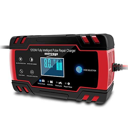 Cargador de batería HaoGu para motocicleta y coche, cargador de batería y mantenedor automático, 12 V, 24 V, 8 A, cargador de batería inteligente, cargador de batería de ácido y pantalla LCD