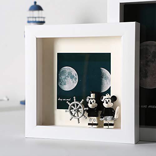 3D Bilderrahmen Tiefe Fotorahmen zum Befüllen Objektrahmen Shadow Box als Deco Geschenk für Weihnachten oder Geburstag, 1 Stück (Weiß, 15x15)