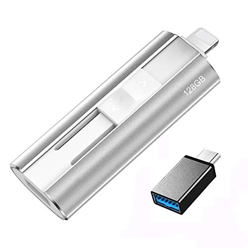 Flash Drive Compatible iPhone, 128GB Photo Stick Memory Stick Mobile Thumb Drive USB 3.0 Compatible iPhone/iPad/Android Backup OTG Smart Phone Protected by Password/Touch ID and Face ID (Silver)… -  Aopans