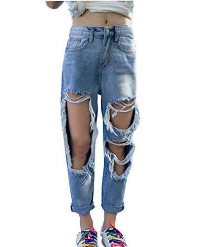 Damen Jeans Basic Skinny High Waist Löchern Boyfriend Jeanshosen Denim Hosen Hellblau S