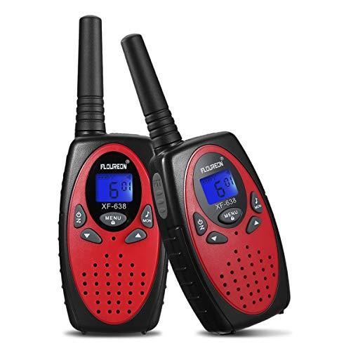 FLOUREON Walkie Talkies, Radio Bidireccional para Nios 8 Canales de Largo Alcance para Supermercados, Festivales y Actividades de Comunicacin (Rojo, 2PCS)