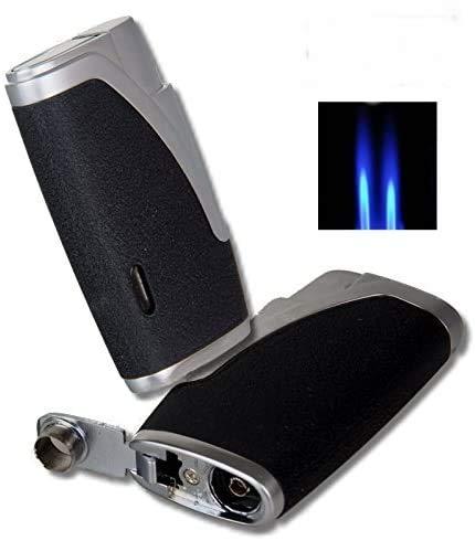 Hadson Zigarren-Feuerzeug Dualflamme Bachelor schwarz