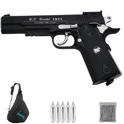 WG 1911 SPORT 601N | Pack Pistola de balines (perdigones Bolas de Acero BB's). Arma de Aire comprimido CO2 Calibre 4,5mm <3,5J