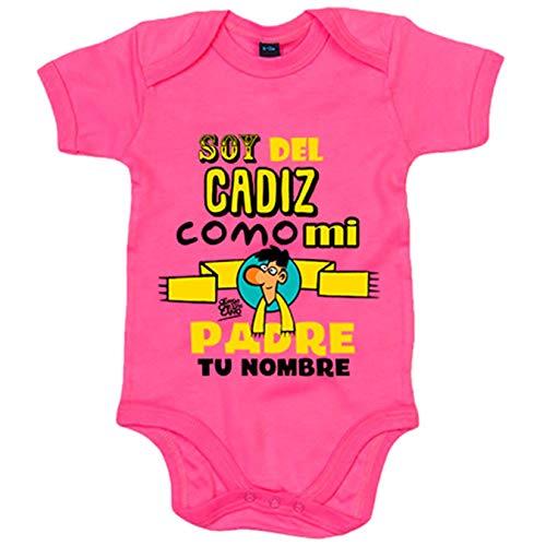 Body bebé soy del Cádiz como mi padre personalizable con nombre ilustrado por Jorge Crespo Cano - Rosa, Talla única 12 meses