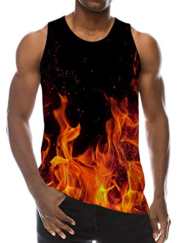 Loveternal Mens Flame Sleeveless T-Shirt 3D Pattern Printed Tank Top Casual Cool Muscle Shirt M