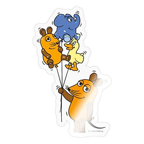 Spreadshirt Die Sendung Mit Der Maus 50 Jahre Jubiläum DREI Luftballons Sticker, One Size, Transparent glänzend