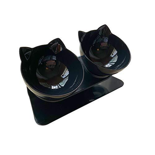 Loozykit 2er Fressnäpfe für Katze Plastik Doppelt Erhöhter Futternapf Katzenohrenförmiger Transparenter Rutschfester Hundenapf Antirutsch Katzennapf