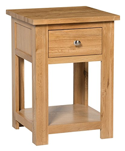 Hallowood Waverly 1 Drawer Small Side Table in Light Oak Finish | Solid Wooden End/Lamp Stand/Bedside Cabinet/Nightstand, (WAV-LAM590)