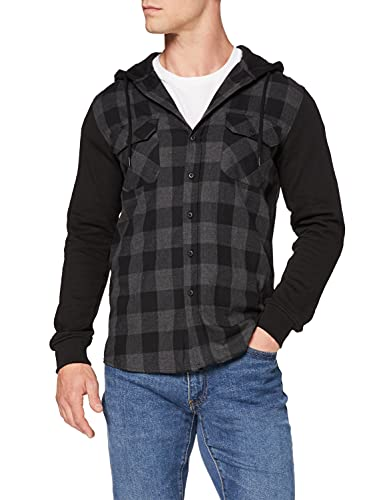Urban Classics Hooded Checked Flanell Sweat Sleeve Shirt Chemise de Loisirs, Multicolore-Mehrfarbig (blk/cha/BL 690), Small Homme