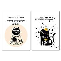 YQQICC 北欧スタイルの子供漫画動物猫ポスター壁アート画像保育園キャンバス絵画現代の赤ちゃんの部屋の装飾-40x60cmx2フレームなし