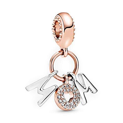 LaMenars Love Charm para pulseras Pandora 925 Silver colgante abalorios para mujeres collares regalo para el cumpleaños del día de la madre (B2-Mamá)