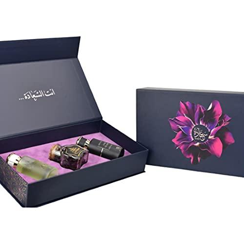 Saadah   Set de regalo de perfume exclusivo de 3 piezas para él y ella   Oud Classic EDP, Zuraique EDP y Muattar Majalis bakhoor   Por Ahmed al Maghribi