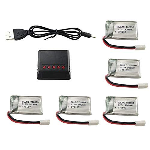 SZMYLED Batterie RC,batteria Lipo,batteria al litio 5Pcs 3.7V 300mAh 25C,caricabatterie 5 in 1,pezzi di ricambio per drone per Syma S39 X11 X11C WLToys V911S