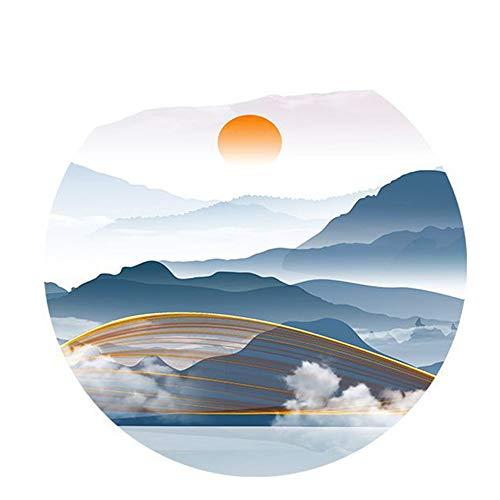 No logo LPLHJD Mural Runde Alpine Sunset Linie Muster Kristall Porzellanmalerei Murals Wohnzimmer Schlafzimmer Esszimmer Mural 60 * 60cm Hängendes Bild