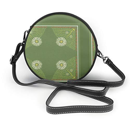 Art Nouveau Gänseblümchen Kopfkissen Rund Umhängetasche Fashion Circle Crossbody Geldbörse Clutch Handtasche