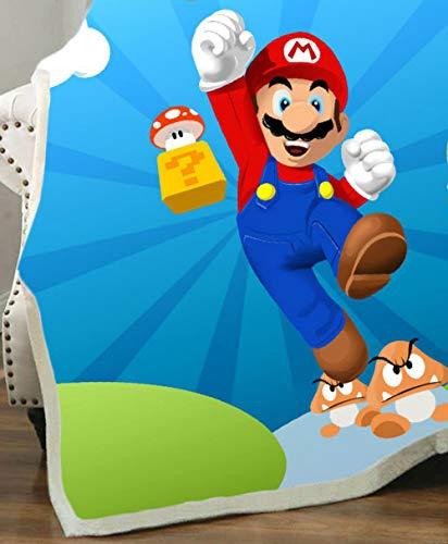 YUNMEI Mario Juguetes Nuevo Super Mario 3D Impreso Manta De Vellón para Camas Gruesas Edredón Moda Cama Sherpa Tirar Manta Adultos Niños 11