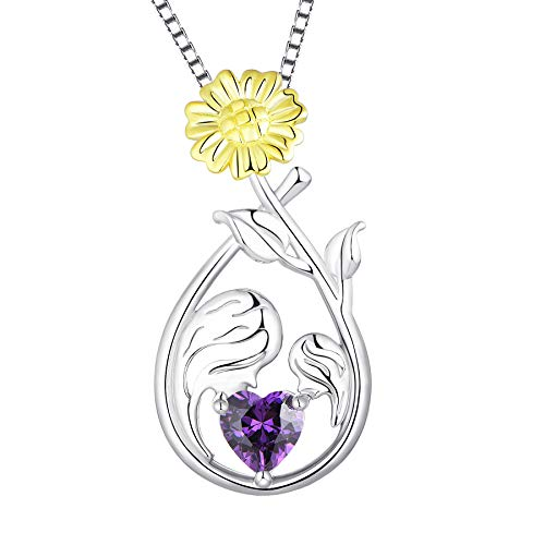 YL Collar Madre e Hija Plata de Ley 925 corte corazón de piedra de nacimiento Amatista Collar con Colgante de Girasol para Mujer, Cadena de caja de 45-48 CM