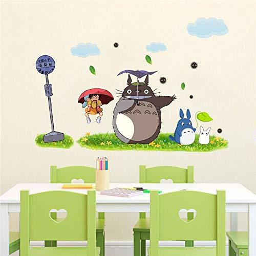 Mi vecino Totoro Miyazaki pegatinas de pared papel tapiz de sala de estar autoadhesivo dormitorio vidrio pegatinas de jardín de infantes-60 * 90cm-mi