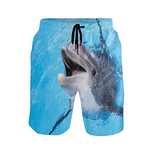BKEOY Herren Strandshorts Tier-Delfin-Shorts Sommer schnell trocknend Surfbrett Badehose mit Netzfutter Gr. L, Multi