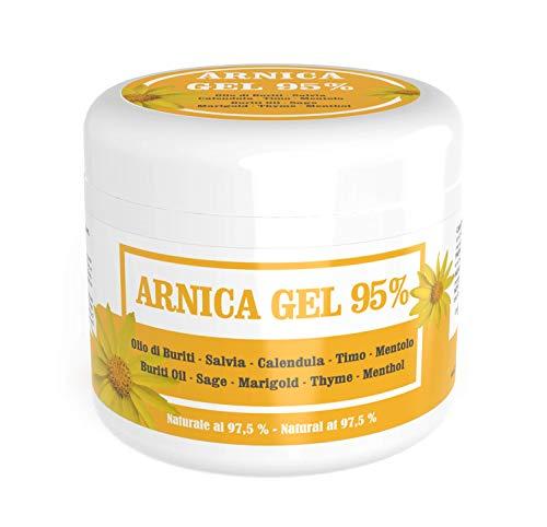 Gel d'arnica 95% - Apaisant grâce à l'Arnica Montana, aux huile de buriti, extraits de sauge et de calendula, à l'huile essentielle de thym et au menthol - Naturel 97,5% (500 ml)