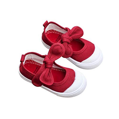 DEBAIJIA Babyschuhe Schule Segeltuch Turnschuhe Schleife Lauflernschuhe Fläche Schuhe für Kleinkind Anti-Rutsch Soft Sole Klettverschluss Kleinkindschuhe Geeignet, Rot, S (Herstellergröße: 24)