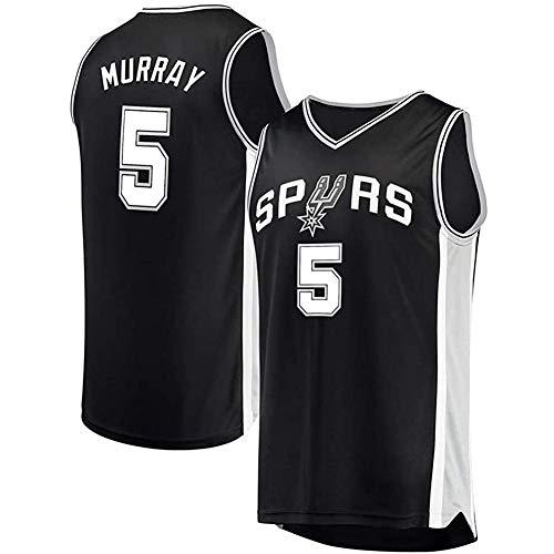 ZXYM Dejounte Murray Basketballtrikot, San Antonio Spurs # 5 Herren Basketball Fan Trikot schnelle Feuchtigkeitsaufnahme atmungsaktiv schnell trocknend Wiederholbare Reinigung-Black-S