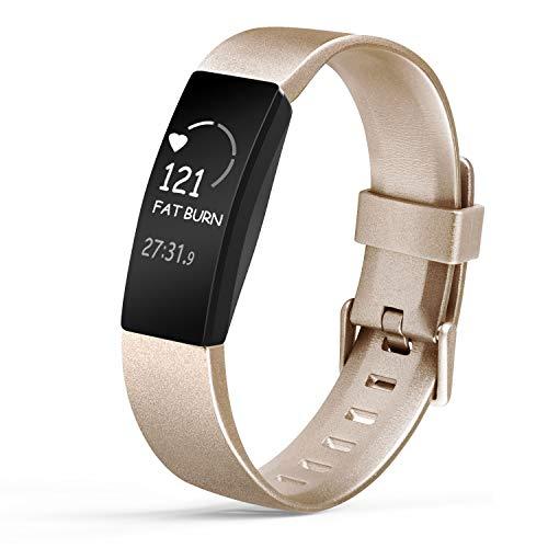 Amzpas Compatible para Fitbit Inspire Correa & Inspire HR Correa, Soft Deportes Pulseras Reemplazo Band Compatible para Fitbit Inspire & Fitbit Inspire HR (02 De Oro, S)