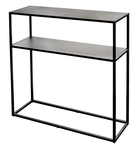 osoltus Cube Konsolentisch Beistelltisch Metall schwarz mit Ablage 80x30x80cm